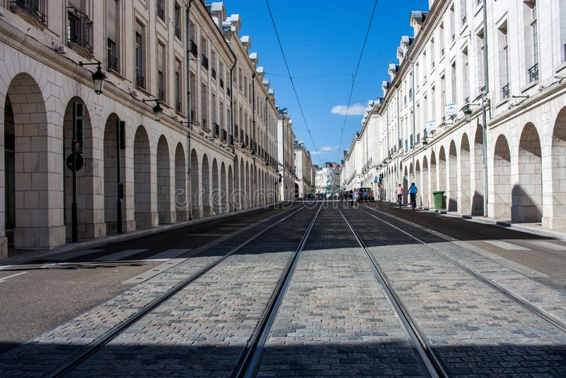 Rue Royale i Orléans arkivfoton