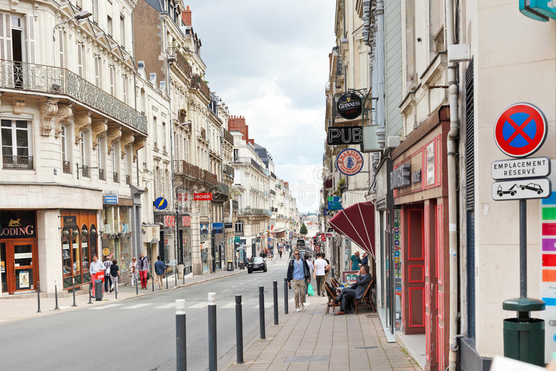 Rue Saint Aubin street in Angers, France. ANGERS, FRANCE - JULY 28, 2014: Rue Saint Aubin street in Angers, France. Angers is city in western France and it is royalty free stock image