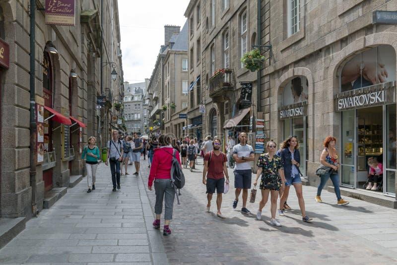 Rue Saint-Vincent a Saint-Malo fotografie stock libere da diritti