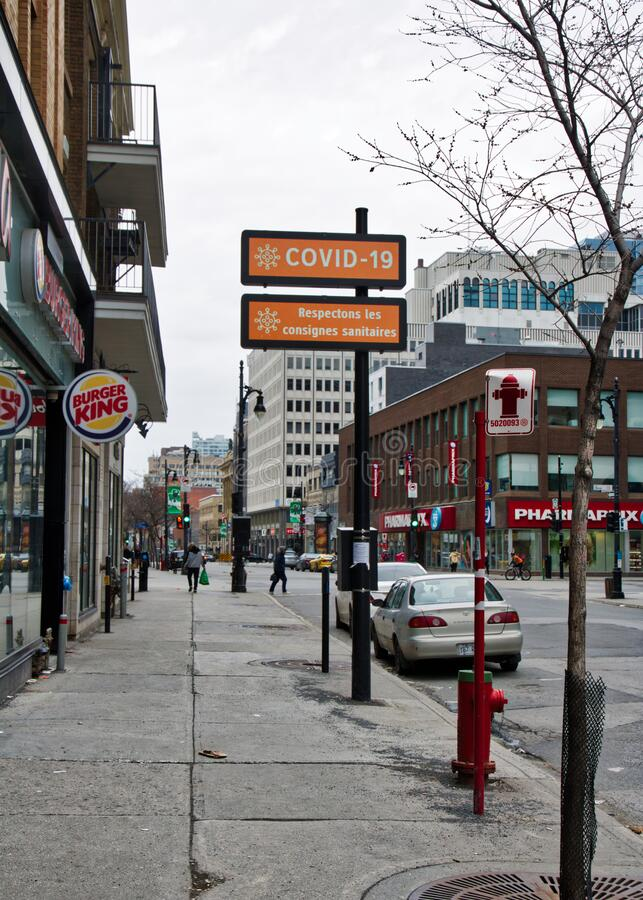 Rue Sainte-Catherine is the most important commercial street in Montreal. stock photography