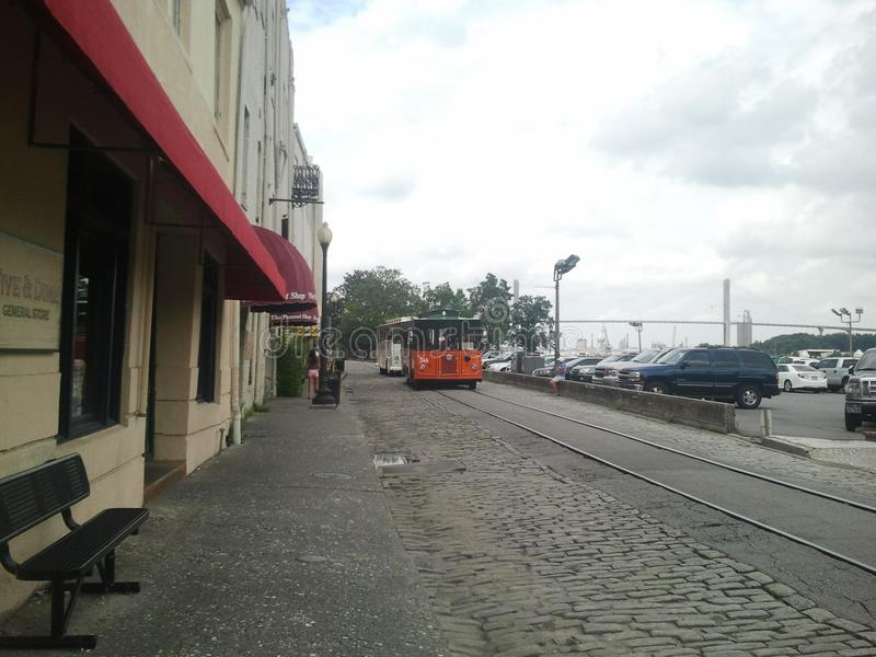 Rue Savannah Georgia Trolley de rivière photos stock