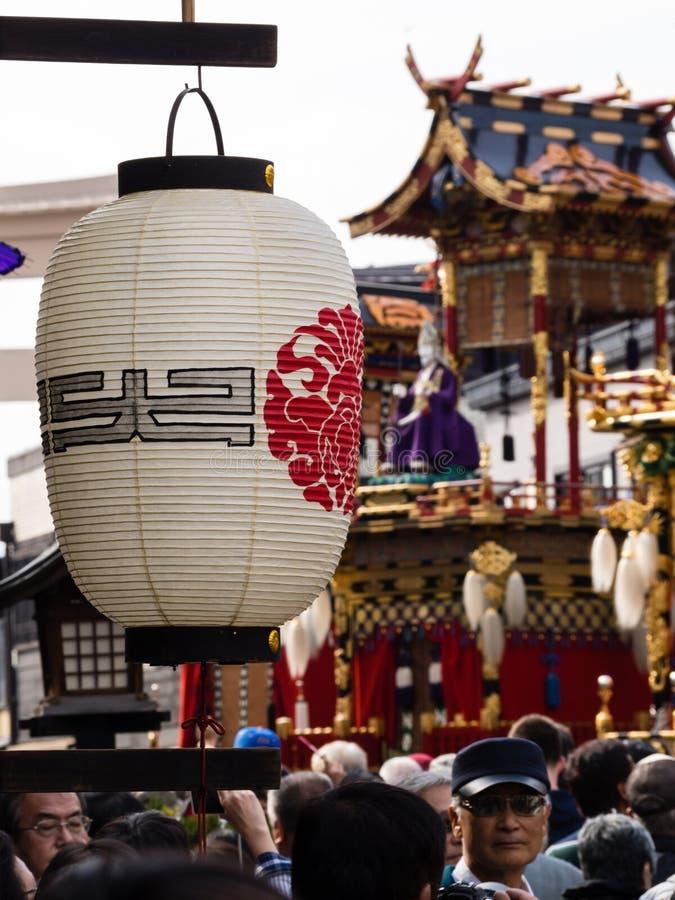 Rue serrée pendant le festival de Takayama, Japon images libres de droits