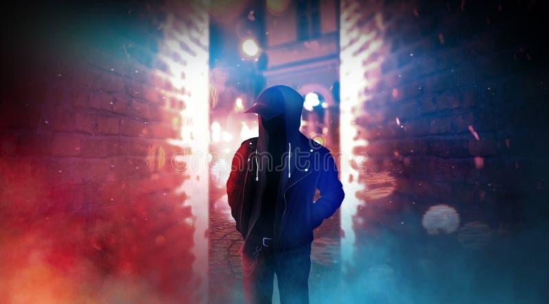 Rue sombre de ville avec la lampe au néon, fumée, brouillard enfumé, la poussière illustration libre de droits