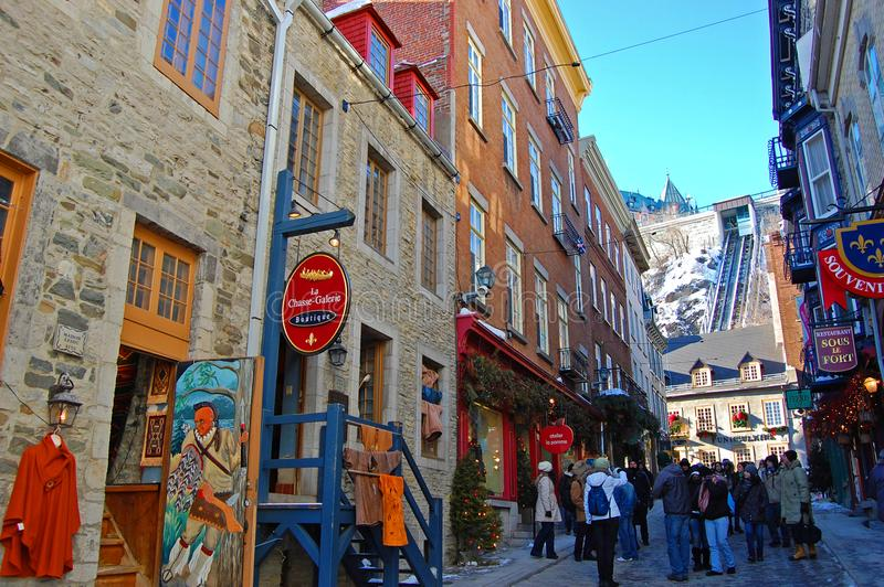 Rue Sous le Fort, Quebec City, Canada. Rue Sous le Fort and Old Quebec Funicular at Lower Town Basse-Ville in winter in Quebec City, Quebec, Canada. Historic stock images