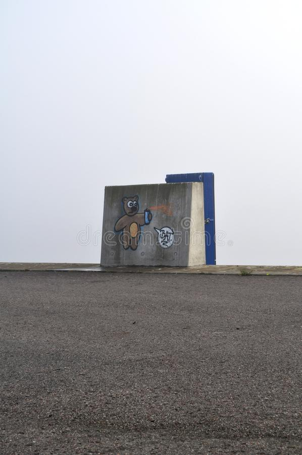 Rue spraycan de Kiel Harbour de graffiti d'ours de Streetart photos libres de droits