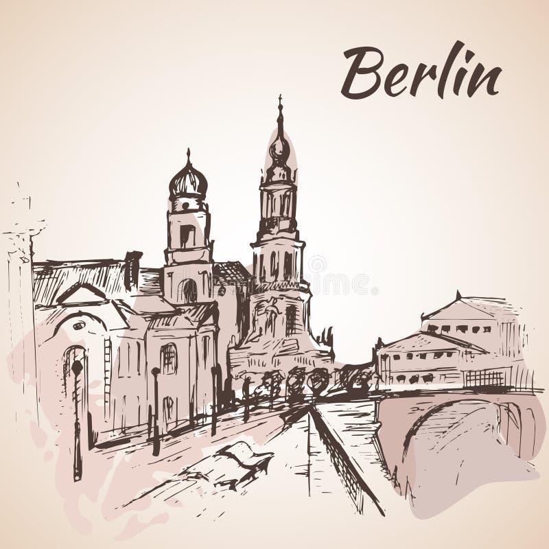 Rue tirée par la main de Berlin près de la rivière avec des bancs illustration de vecteur
