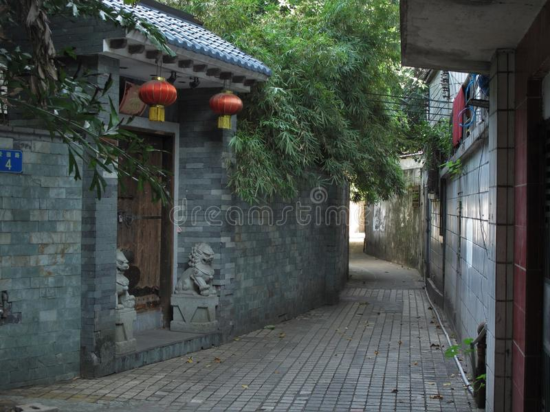 Rue tranquille dans Guangzhou central image stock