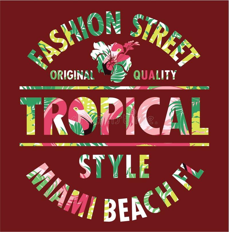 Rue tropicale de mode de Miami de style illustration libre de droits