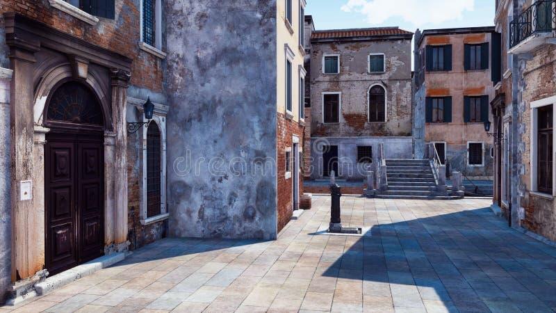 Rue vénitienne vide avec les bâtiments antiques 3D illustration de vecteur