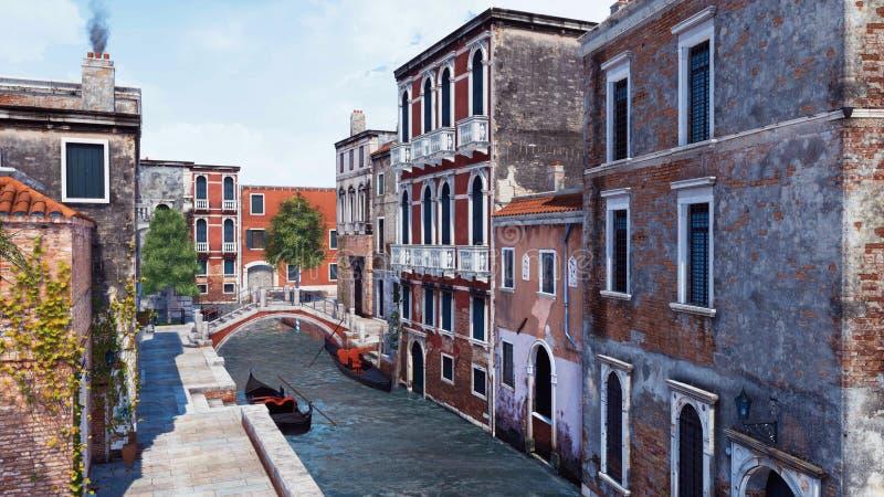 Rue vide avec de vieux bâtiments à Venise, Italie illustration libre de droits