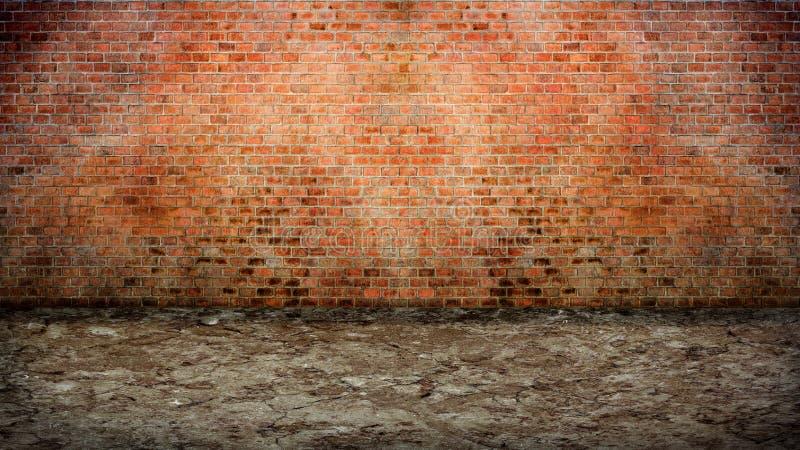 Rue vide avec le vieux mur de briques image libre de droits