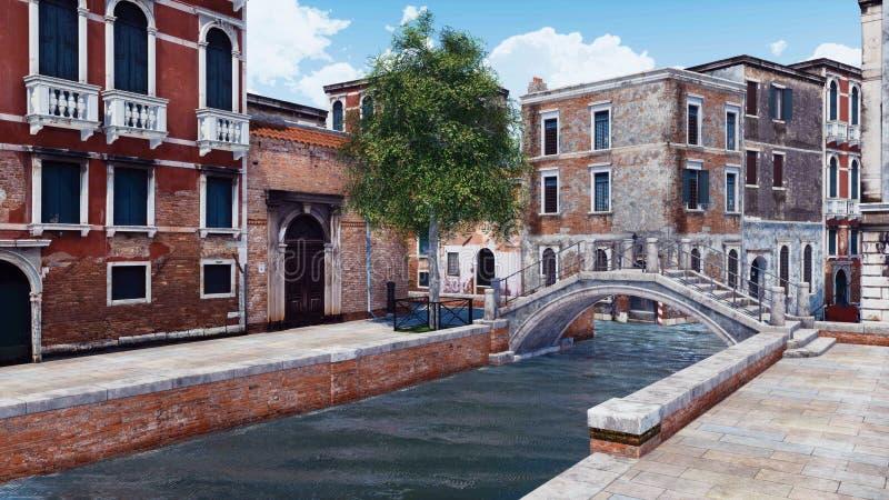 Rue vide de Venise avec le pont antique au-dessus du canal illustration stock