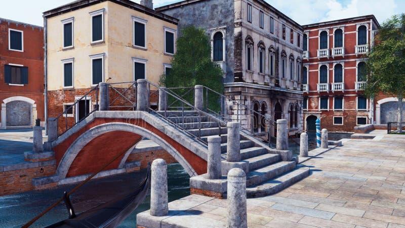 Rue vide de Venise avec le vieux pont au-dessus du canal illustration stock