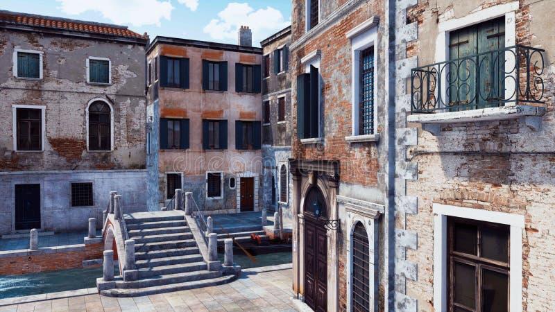 Rue vide de ville avec les bâtiments antiques à Venise illustration libre de droits