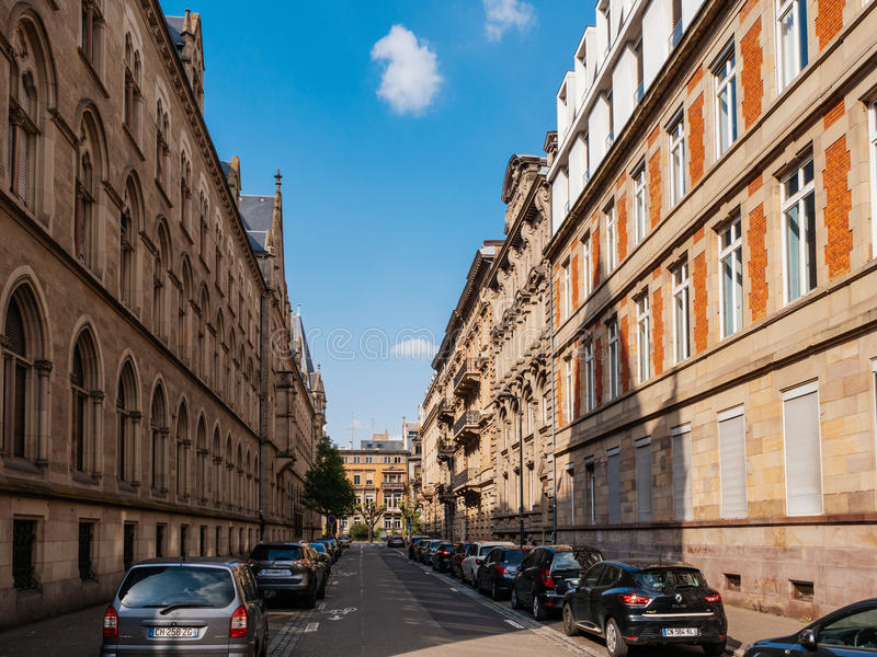 Rue Wencker street with typical French architecture stock images