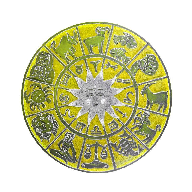 Rueda amarilla del horóscopo imagenes de archivo