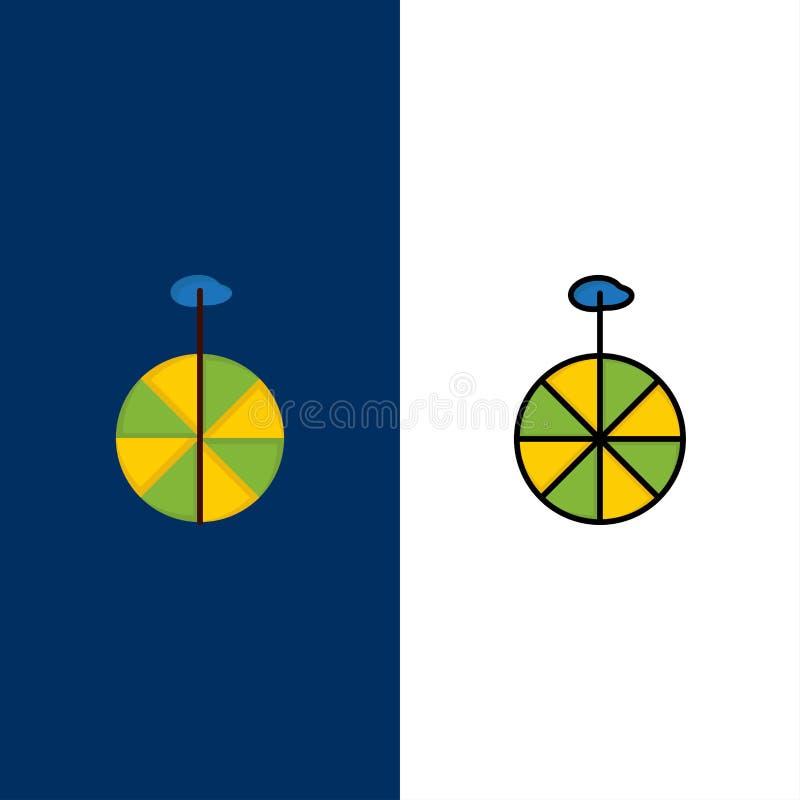 Rueda, ciclo, iconos del circo El plano y la línea icono llenado fijaron el fondo azul del vector ilustración del vector