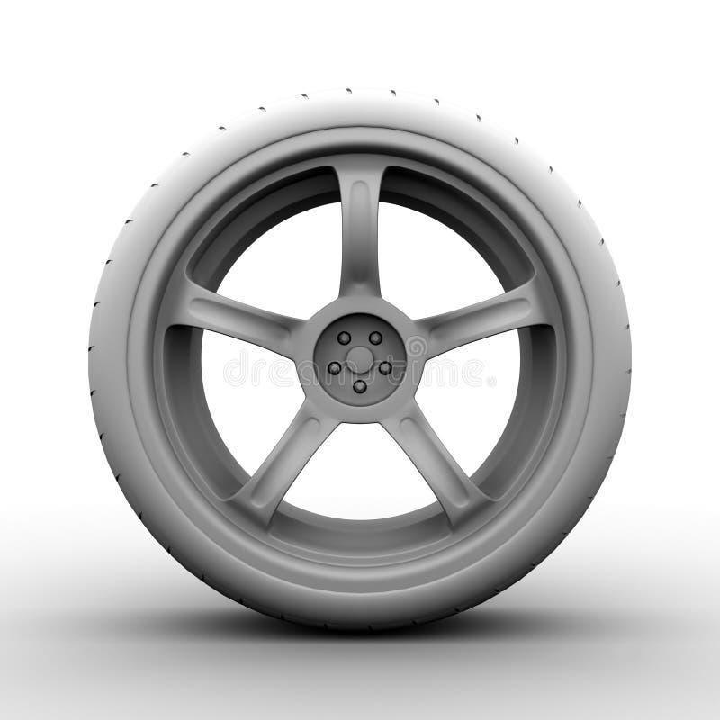 rueda 3d en blanco stock de ilustración