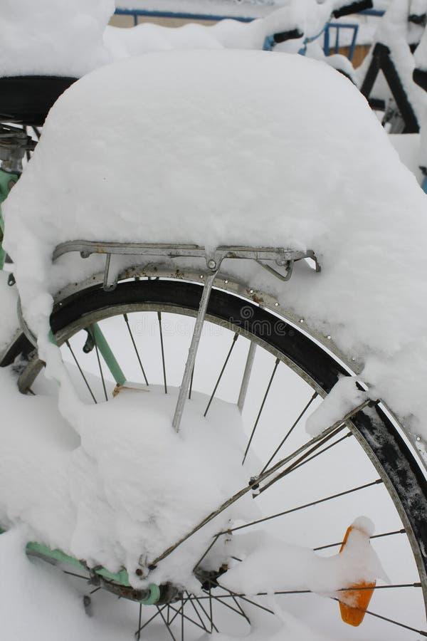 Rueda de bicicleta cubierta con nieve imagen de archivo libre de regalías