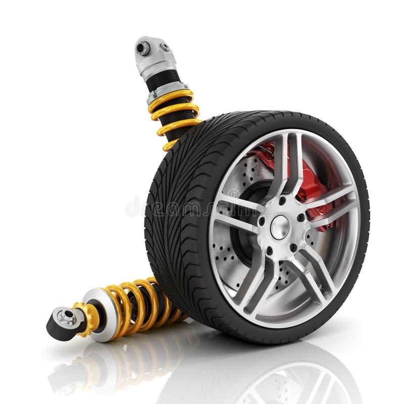 Rueda de coche con los frenos, los amortiguadores, los neumáticos y los bordes ilustración del vector