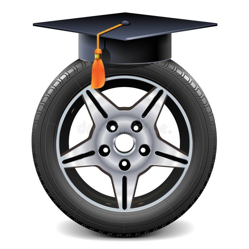 Rueda de coche del vector con el casquillo académico cuadrado stock de ilustración