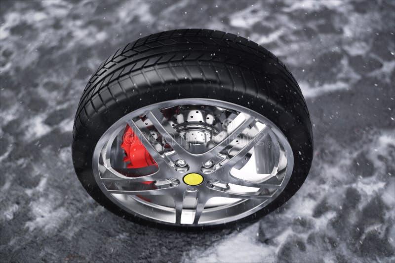 Rueda de coche, neumático de coche que se coloca en un camino Neumáticos del invierno del concepto Neumáticos del invierno con el ilustración del vector