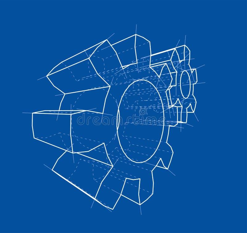 rueda de engranaje 3d ilustración 3D stock de ilustración