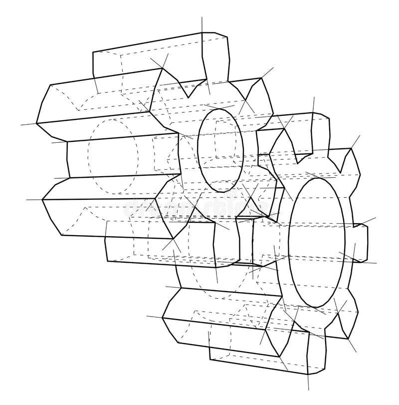 rueda de engranaje 3d Representación del vector de 3d ilustración del vector