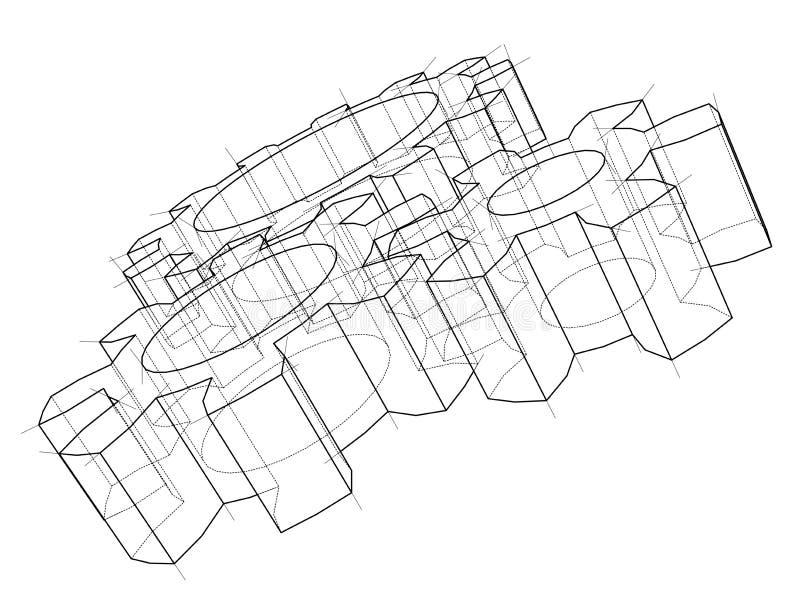 rueda de engranaje 3d Vector stock de ilustración
