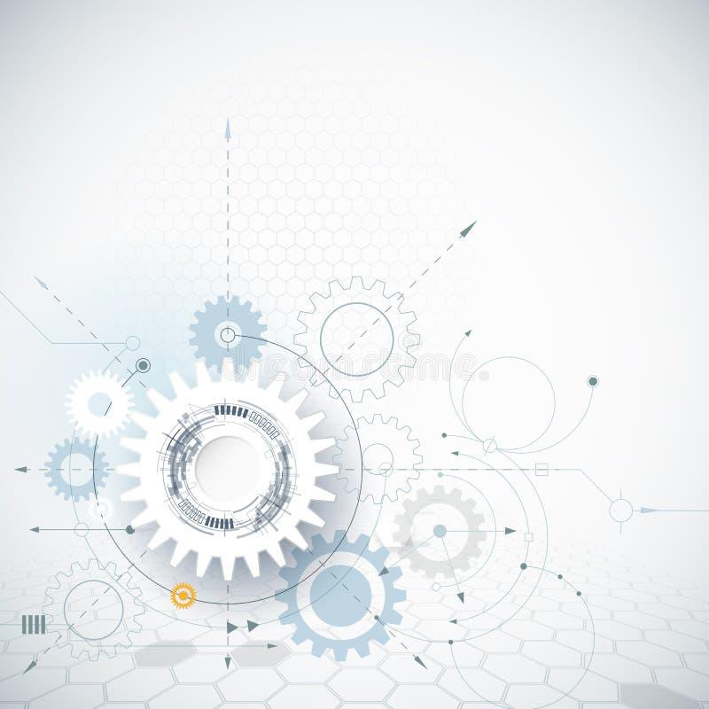 Rueda de engranaje del ejemplo del vector, hexágonos Fondo de alta tecnología abstracto de la tecnología y de la ingeniería libre illustration