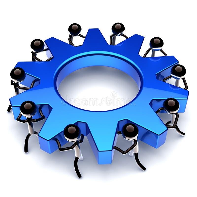 Rueda de engranaje del trabajo en equipo, proceso de negocio de la rueda dentada sociedad ilustración del vector
