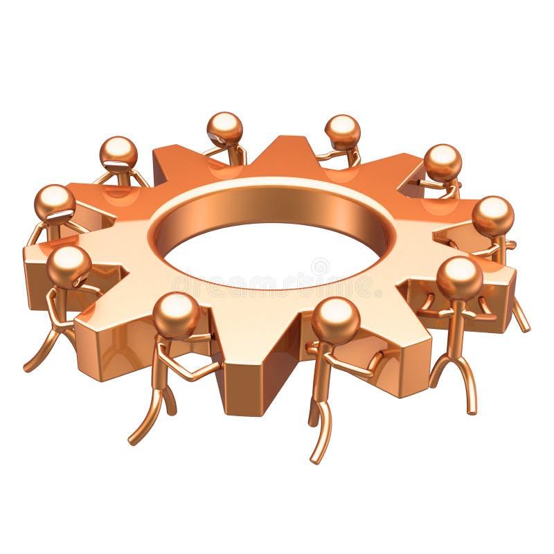 Rueda de engranaje de los caracteres de la rueda dentada del trabajo en equipo de oro stock de ilustración
