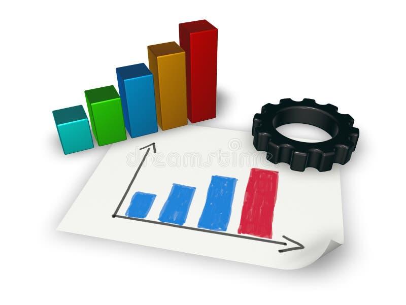 Gráfico de negocio y rueda de engranaje libre illustration