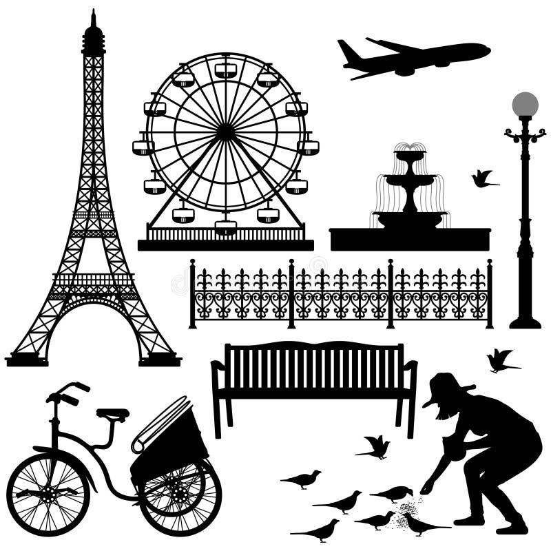 Rueda de Ferris de la torre Eiffel de París stock de ilustración
