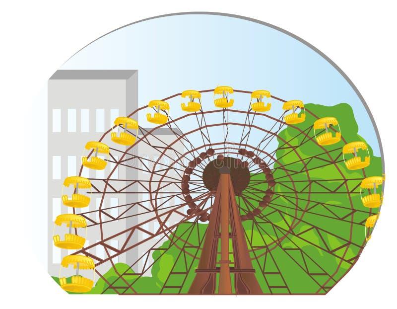 Rueda de Ferris y cielo azul ilustración del vector