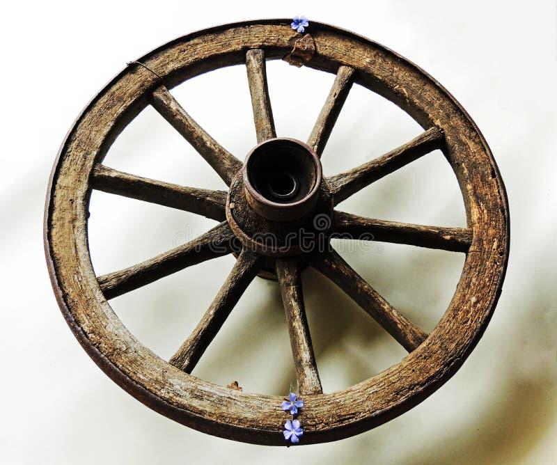 Rueda de la carretilla Viejo de madera con el borde oxidado del hierro imagen de archivo