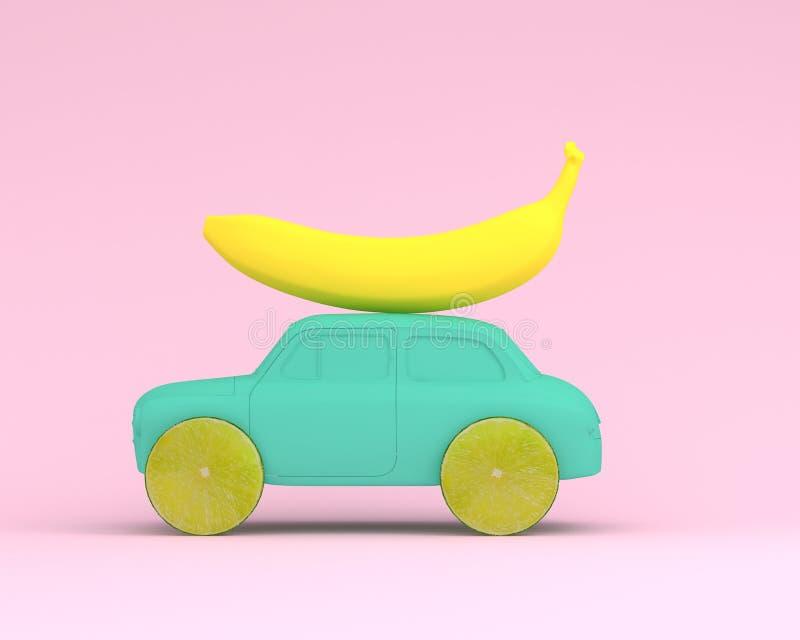 Rueda de la disposición de la fruta del limón y plátano amarillo con el azul del coche encendido más allá stock de ilustración