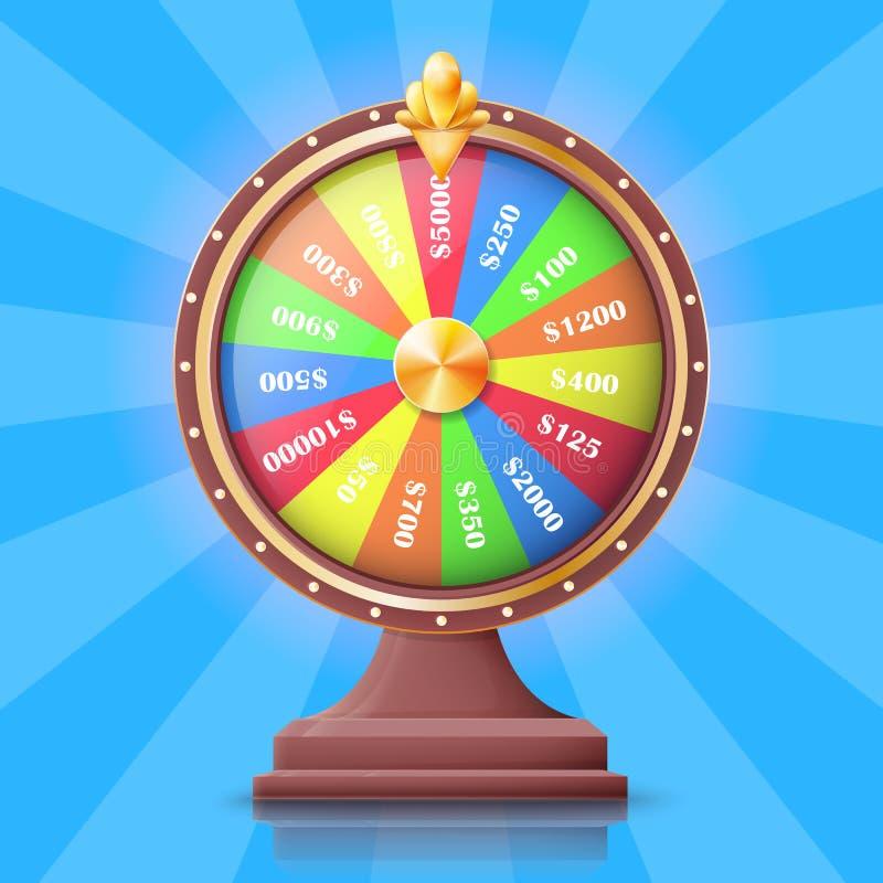 Rueda de la fortuna colorida con las ranuras de los premios del dinero stock de ilustración