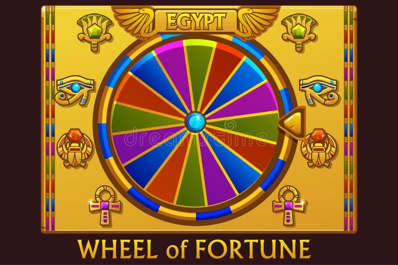 Rueda de la fortuna en el estilo egipcio para el juego y el casino de UI r stock de ilustración