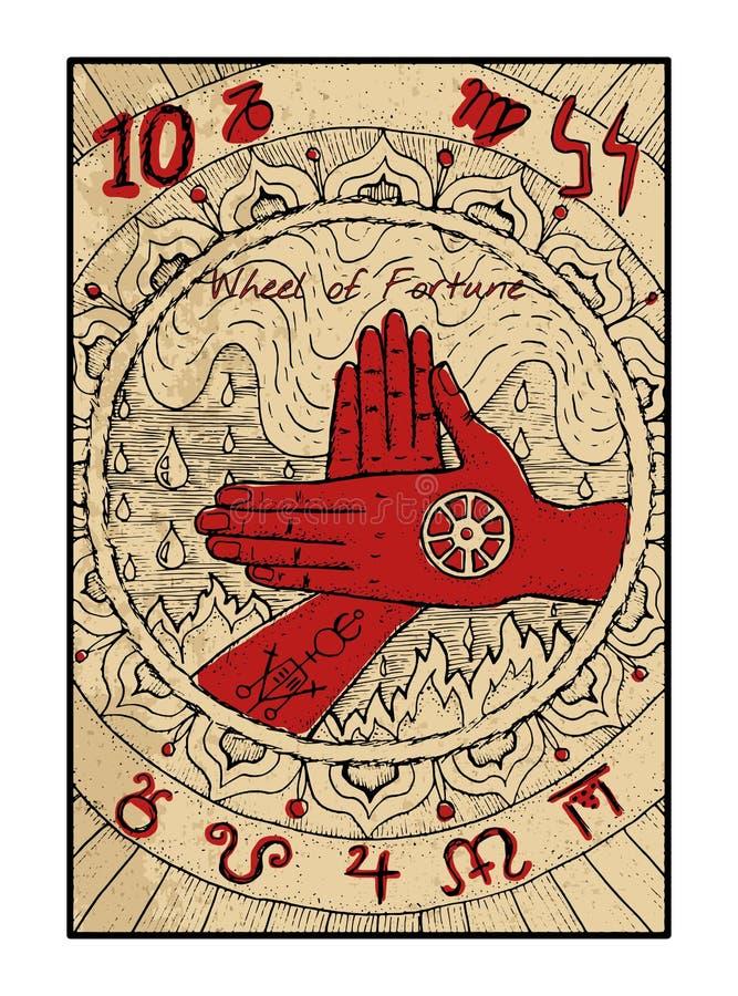 Rueda de la fortuna La carta de tarot ilustración del vector