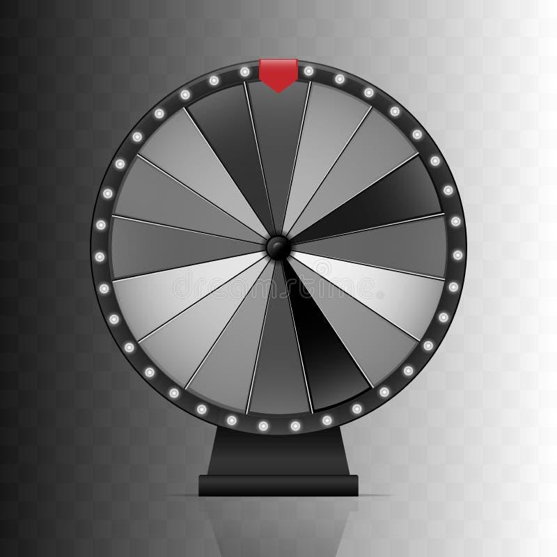 Rueda de la fortuna Vuelta afortunada blanco y negro con la flecha roja Elemento aislado del diseño stock de ilustración