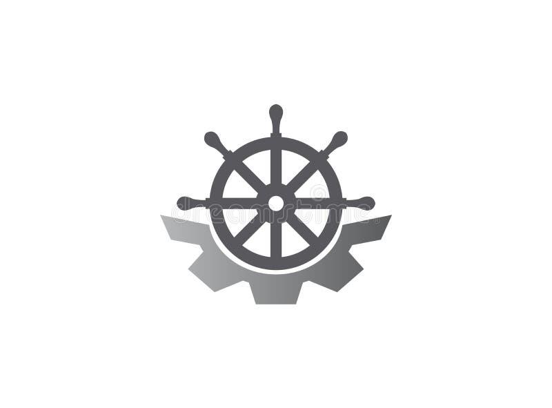 Rueda de la nave con el icono del engranaje para el ejemplo del diseño del logotipo del barco del mechaique en un fondo blanco ilustración del vector