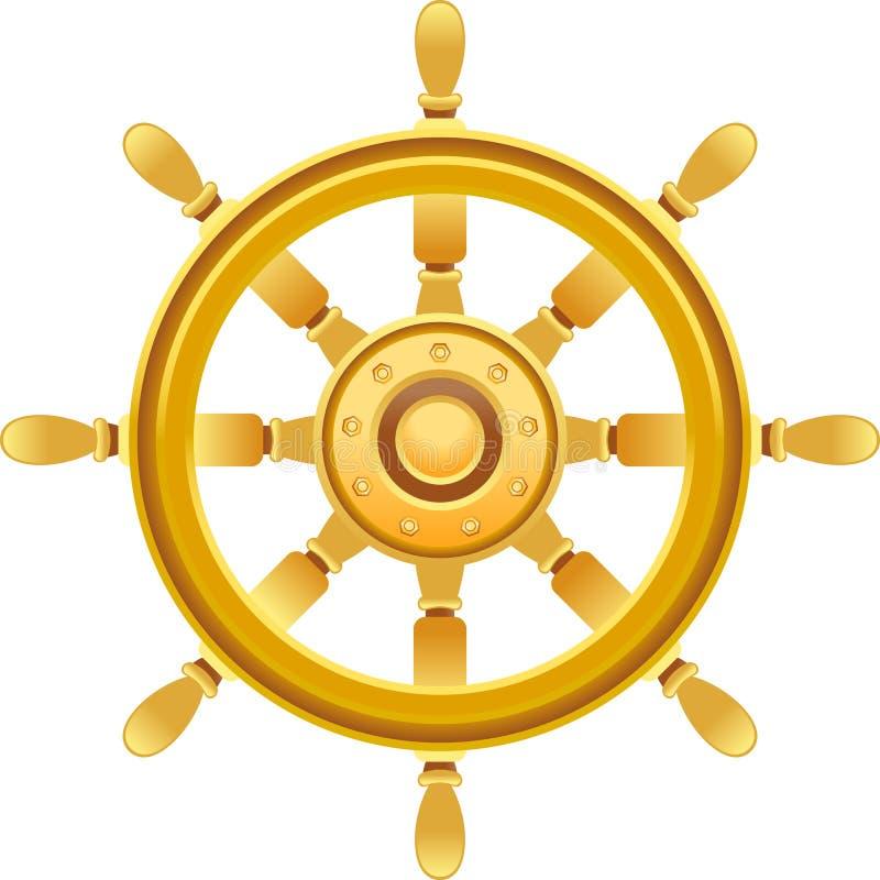 Rueda de la nave del oro stock de ilustración