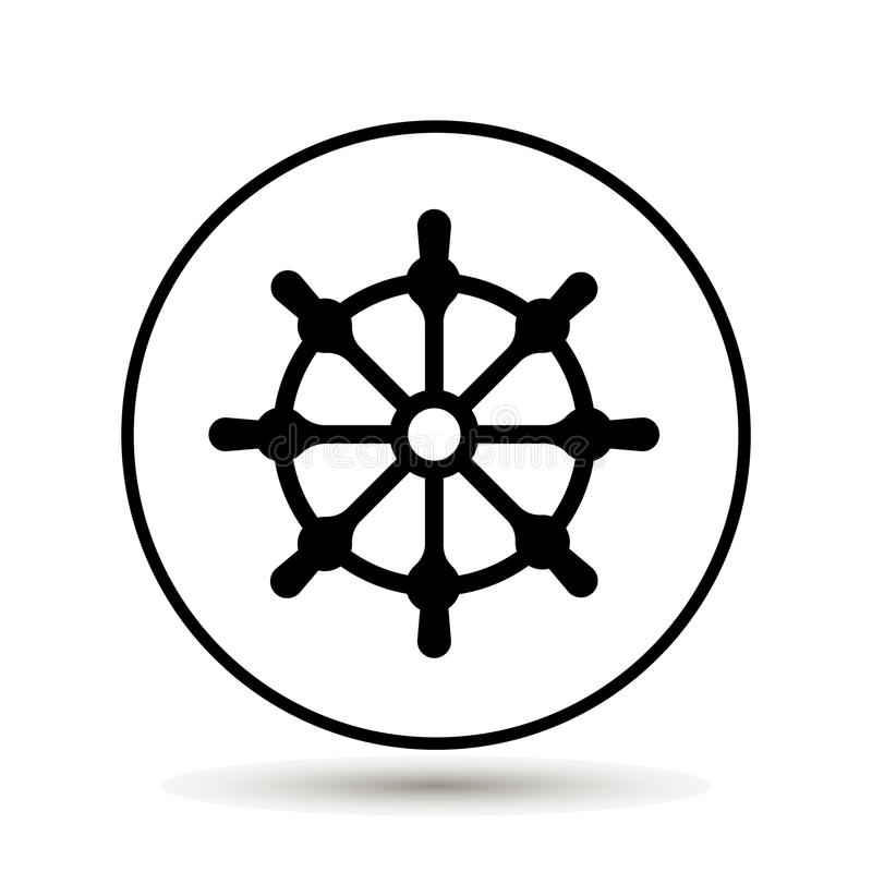 Rueda de la nave Icono del volante del barco Ilustración del vector stock de ilustración