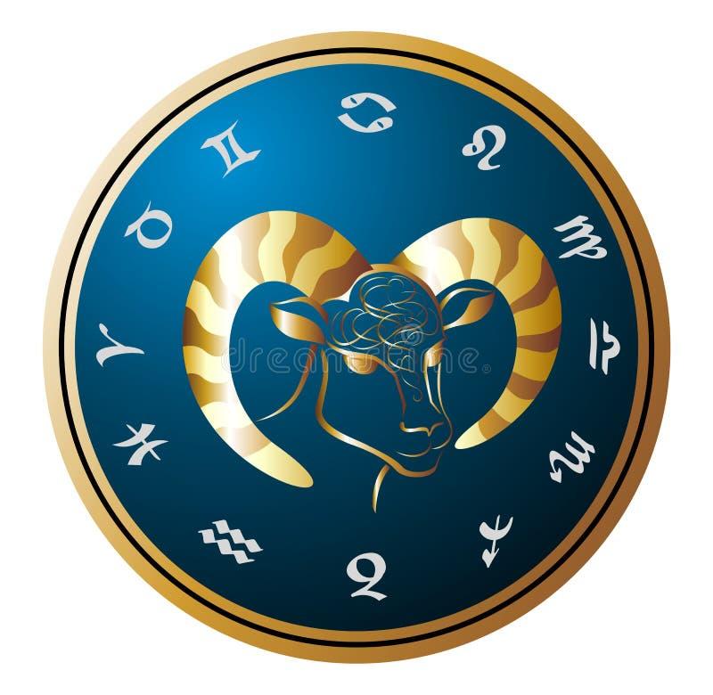 Rueda de oro del zodiaco con la muestra del aries stock de ilustración