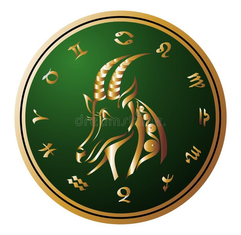 Rueda de oro del zodiaco con la muestra del Capricornio stock de ilustración