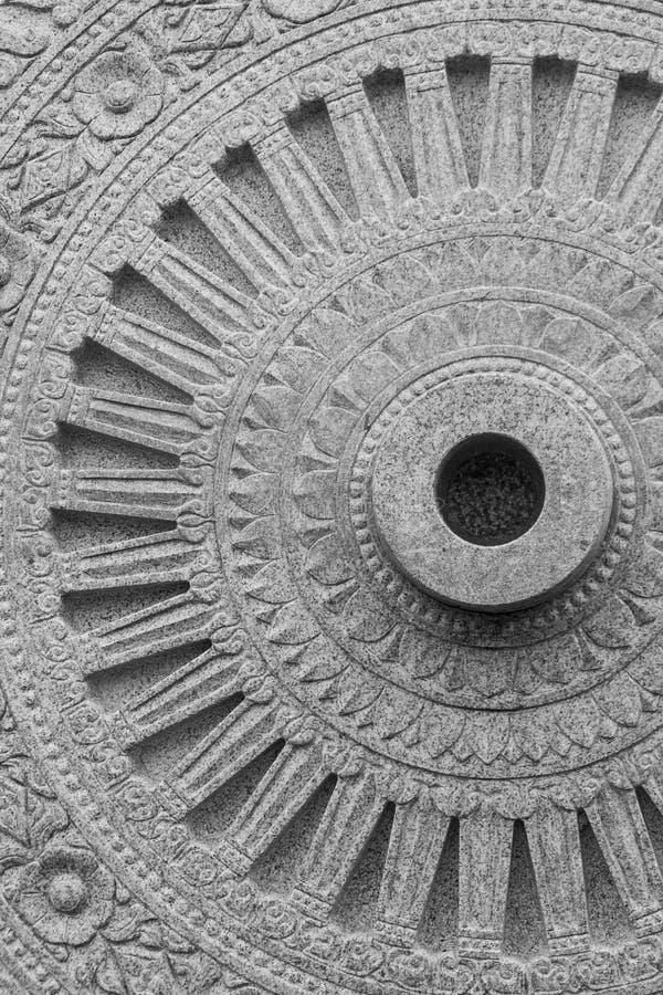 Rueda de piedra de Dharma en Wat Phra Si Mahathat imágenes de archivo libres de regalías