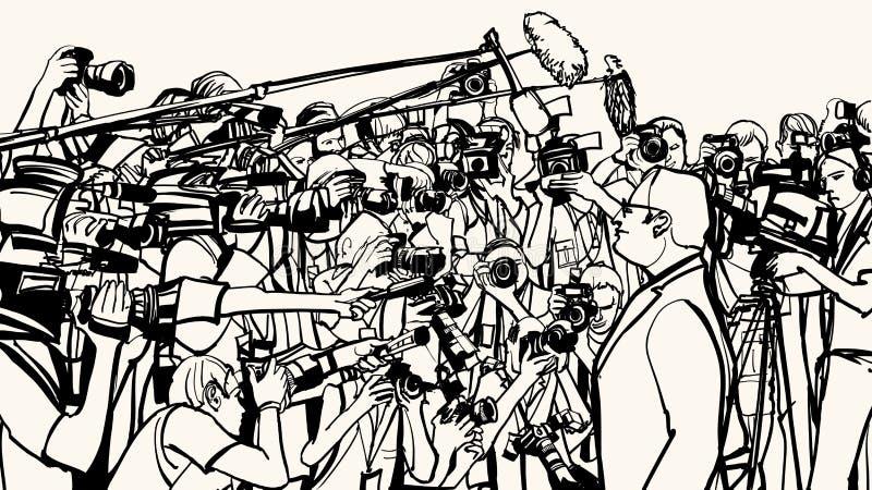 Rueda de prensa stock de ilustración