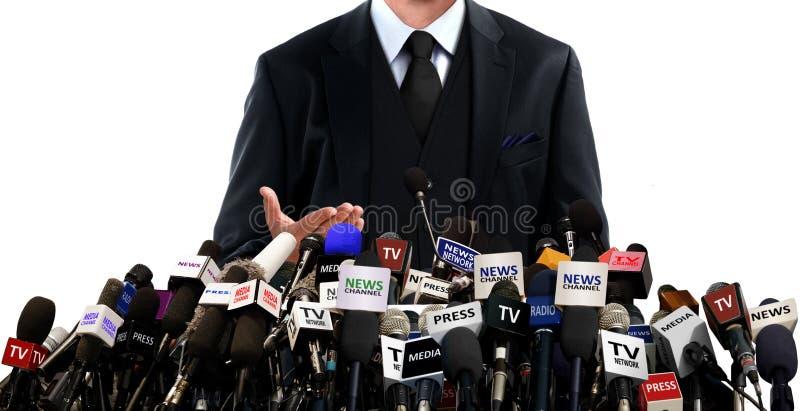 Rueda de prensa con los medios fotos de archivo libres de regalías