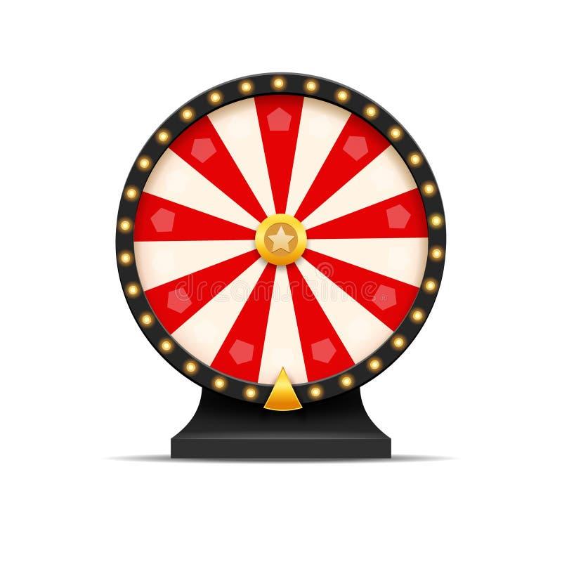 Rueda del ejemplo de la suerte de la lotería de la fortuna Juego del casino de azar Ruleta de la fortuna del triunfo Ocio de la o ilustración del vector
